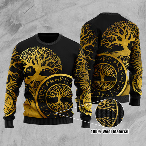 1stIceland Viking Yggdrasil 100% Wool Material Sweater Gold TH4 - 1st Iceland