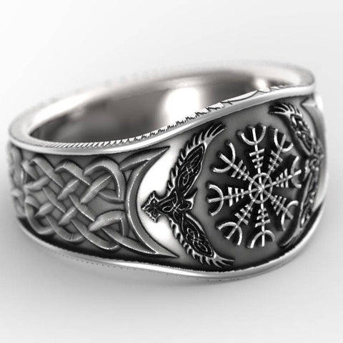 1stIceland Vikings Ring, Helm of Awe Raven's Th00 - 1st Iceland