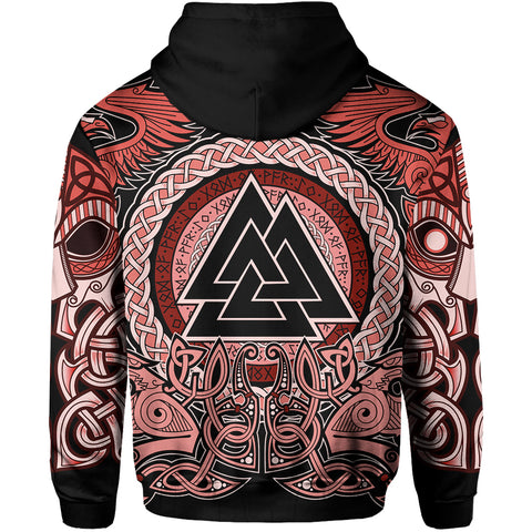 1stIceland Viking Zip Up Hoodie, Red Odin Raven TH5 - 1st Iceland