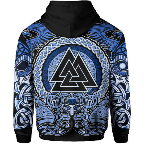 1stIceland Viking Zip Up Hoodie, Blue Odin Raven TH5 - 1st Iceland