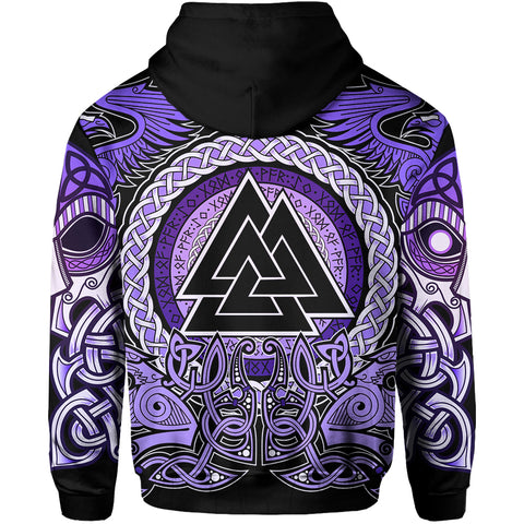 1stIceland Viking Zip Up Hoodie, Purple Odin Raven TH5 - 1st Iceland