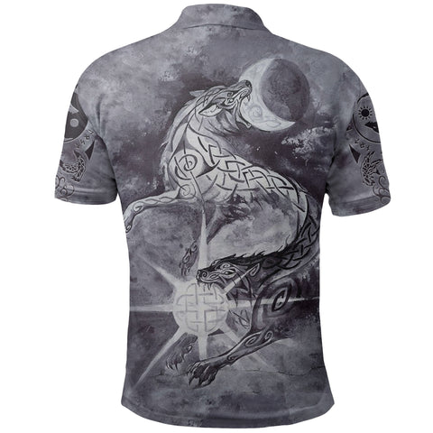 Image of 1stIceland Viking Polo Shirt, Skoll And Hati with Fenrir Yggdrasil TH5