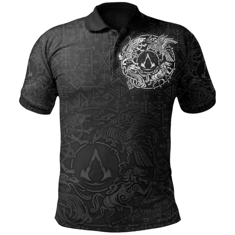 1sticeland Viking Valhalla Polo Shirt Raven with Wolf - Sleipnir TH5 - 1st Iceland