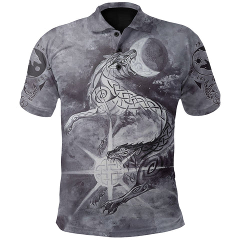 Image of 1stIceland Viking Polo Shirt, Skoll And Hati with Fenrir Yggdrasil TH5 - 1st Iceland