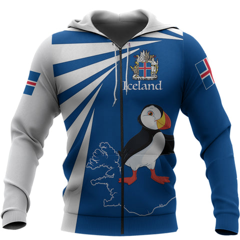 1stIceland Zip Hoodie, Iceland Puffin Map Tornado Version TH5 - 1st Iceland