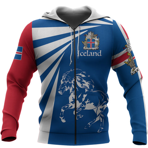 1stIceland Zip Hoodie, Icelandic Horse Coat Of Arms Tornado Version TH50 - 1st Iceland