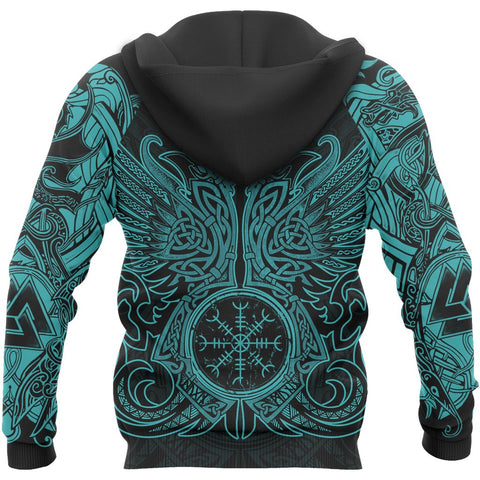 1stIceland Viking Pullover Hoodie, Valknut Odin's Ravens Helm Of Awe - TH5 - 1st Iceland