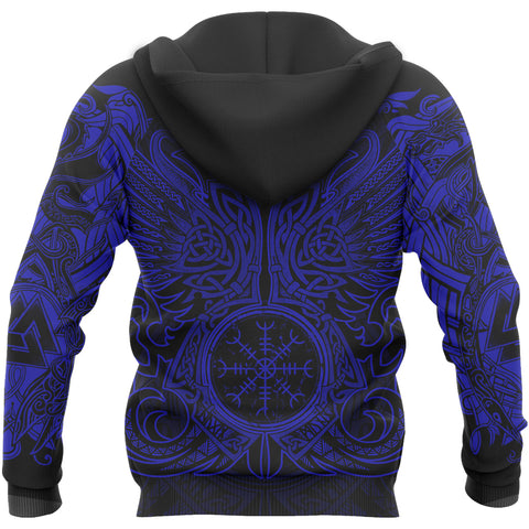 1stIceland Viking Pullover Hoodie, Odin's Raven Helm Of Awe TH5 - 1st Iceland
