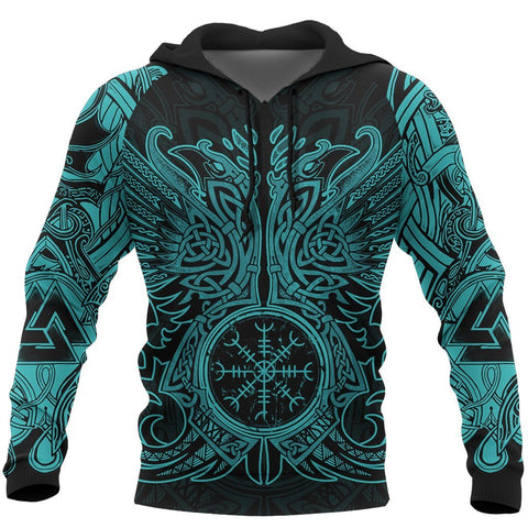Image of 1stIceland Viking Pullover Hoodie, Valknut Odin's Ravens Helm Of Awe - TH5 - 1st Iceland