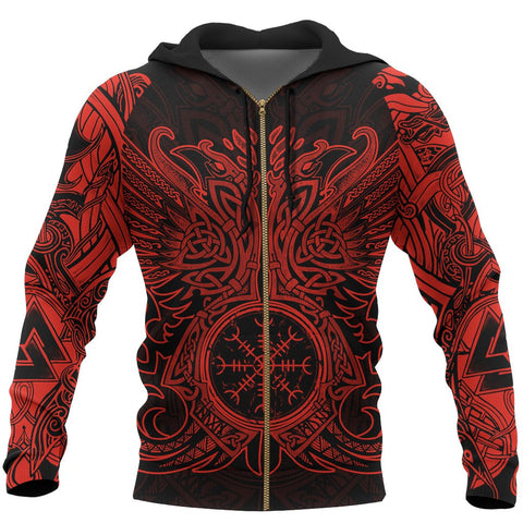 1stIceland Viking Zip Up Hoodie, Odin's Raven Helm Of Awe TH5 - 1st Iceland