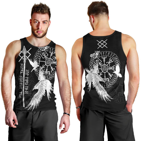Viking Gungnir Men's Tank Top-Given To Odin, Myself To Myself Black TH4 - 1st Iceland