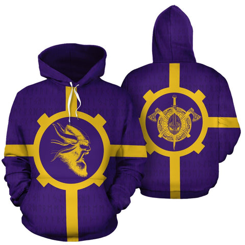 1stIceland Viking Pullover Hoodie, Odin Warrior Viking Helmet Axes Th9 - 1st Iceland