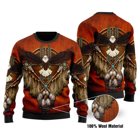 1stIceland Native American Eagles Dreamcatcher 100% Wool Material Sweater TH4 - 1st Iceland
