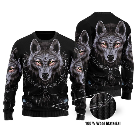 1stIceland Native American Wolf Dreamcatcher 100% Wool Material Sweater TH4 - 1st Iceland