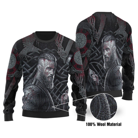 1stIceland Viking Ragnar 100% Wool Material Sweater Valknut With Raven K8 - 1st Iceland
