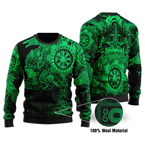 1stIceland Viking Valkyrie 100% Wool Material Sweater Valknut Vegvisir With Mjolnir - Green K8 - 1st Iceland