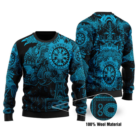 1stIceland Viking Valkyrie 100% Wool Material Sweater Valknut Vegvisir With Mjolnir - Blue K8 - 1st Iceland