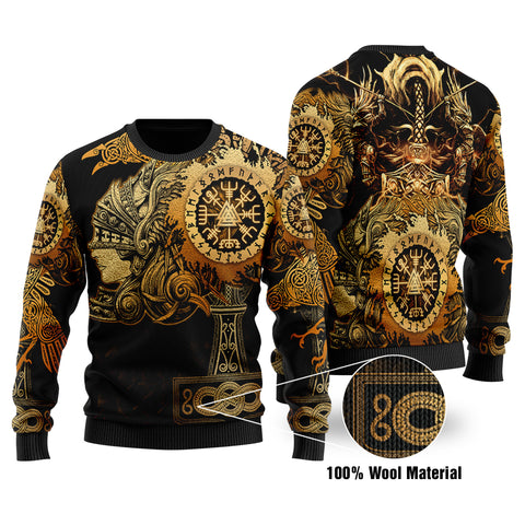 1stIceland Viking Valkyrie 100% Wool Material Sweater Valknut Vegvisir With Mjolnir - Gold K8 - 1st Iceland