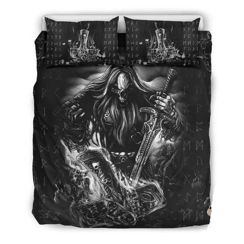 1stIceland Viking Bedding Set, Odin Nordic Mythology Mjolnir Rune K7 - 1st Iceland