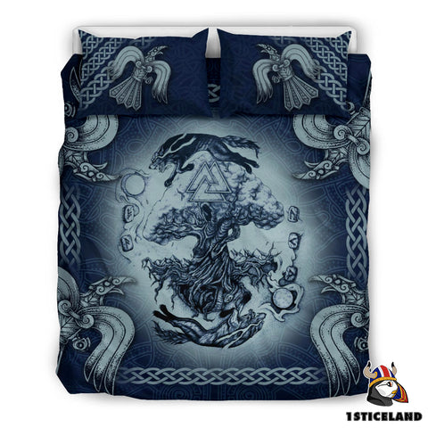 Image of 1stIceland Viking Bedding Set, Tree Of Life Fenrir Skoll And Hati Raven Valknut K7 - 1st Iceland