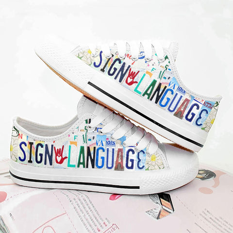Sign Language Low Top Shoes - 1st Iceland