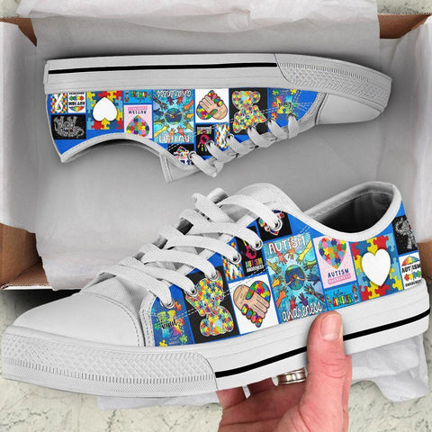 Autism Awareness Low Top Shoes - 1st Iceland