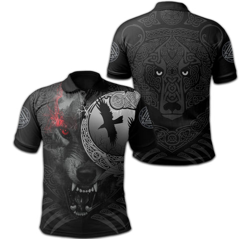 1stIceland Viking Angry Moon Wolf Polo Shirt TH12 - 1st Iceland