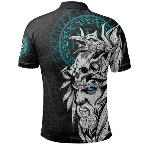 1stIceland Viking Odin And Raven Turquoise Polo Shirt TH12 - 1st Iceland