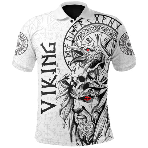 1stIceland Viking Odin And Raven White Polo Shirt TH12 - 1st Iceland
