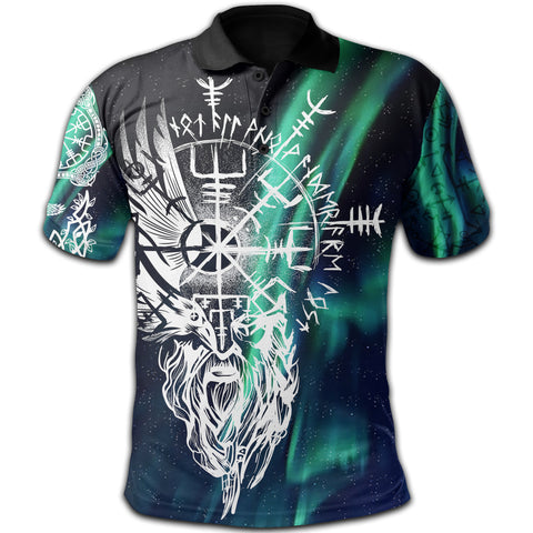 1stIceland Viking Polo Shirt Odin And Northern Lights | 1sticeland.com
