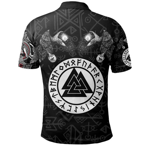 1stIceland Viking Polo T-Shirts, Fenrir Skoll And Hati Valknut Raven TH00 - 1st Iceland