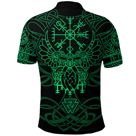 Image of 1stIceland Viking Mjolnir Polo Shirt Celtic Raven Version Green K13 - 1st Iceland