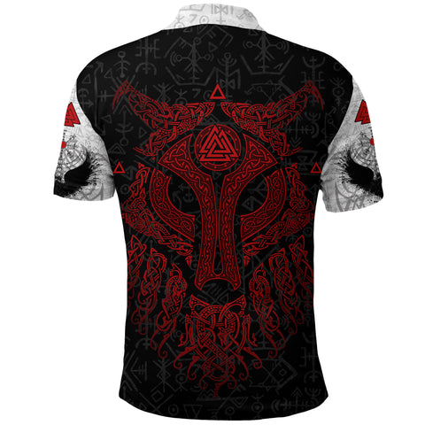 Viking Wolf and Raven Polo Shirt Valknut Runes Red K13 - 1st Iceland