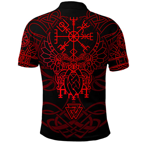 1stIceland Viking Mjolnir Polo Shirt Celtic Raven Version Red K13 - 1st Iceland