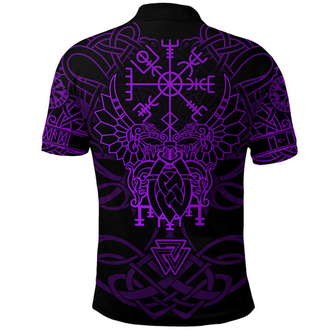 Image of 1stIceland Viking Mjolnir Polo Shirt Celtic Raven Version Purple K13 - 1st Iceland