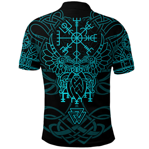 1stIceland Viking Mjolnir Polo Shirt Celtic Raven Version Turquoise K13 - 1st Iceland