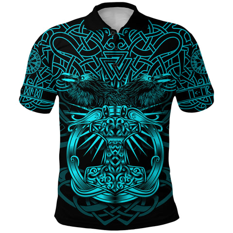 Image of 1stIceland Viking Mjolnir Polo Shirt Celtic Raven Version Turquoise K13 - 1st Iceland
