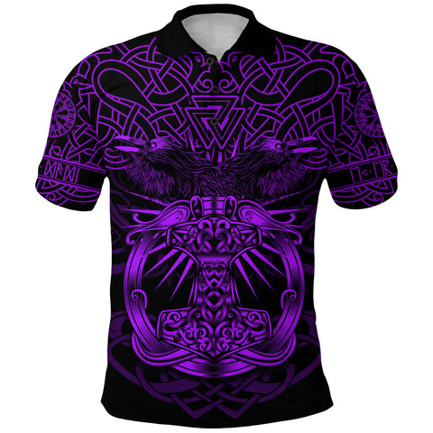 1stIceland Viking Mjolnir Polo Shirt Celtic Raven Version Purple K13 - 1st Iceland