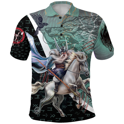 Image of The Viking Runes Polo Shirt Odin And Sleipnir K13 - 1st Iceland