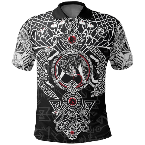 Image of 1stIceland Viking Polo T-Shirts, Fenrir Skoll And Hati Valknut TH00 - 1st Iceland