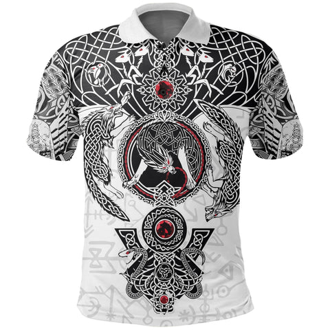 1stIceland Viking Polo T-Shirts, Fenrir Skoll And Hati Valknut White TH00 - 1st Iceland