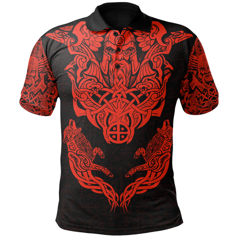 Image of 1stIceland Viking Polo Shirt Odin With Hungin and Munin (Red) TH5 - 1st Iceland