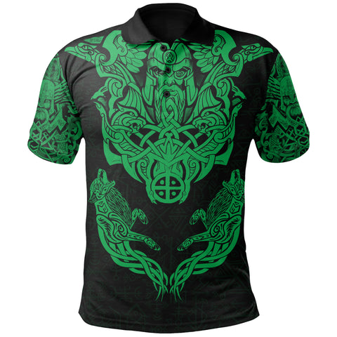 Image of 1stIceland Viking Polo Shirt Odin With Hungin and Munin (Green) TH5 - 1st Iceland
