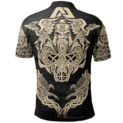 1stIceland Viking Polo Shirt Odin With Hungin and Munin (Gold) TH5 - 1st Iceland