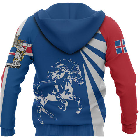 Image of 1stIceland Zip Hoodie, Icelandic Horse Coat Of Arms Tornado Version TH50 - 1st Iceland