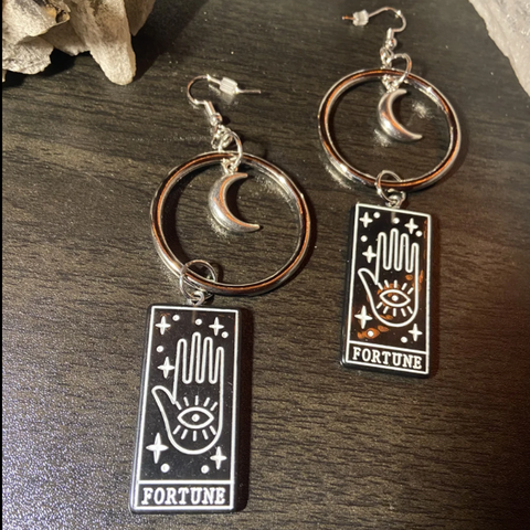 Image of Fortune Tarot Hoop Dangle Earrings TH17 - 1st Iceland