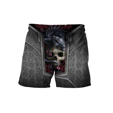 1stIceland Men Shorts, 3D Tattoo Dragon with Skull - 1st Iceland