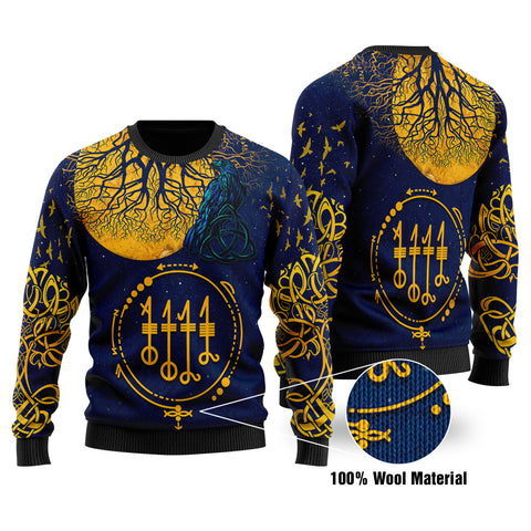1stIceland Viking Svefnthorn 100% Wool Material Sweater, Raven The Moonlight 2 K13 - 1st Iceland