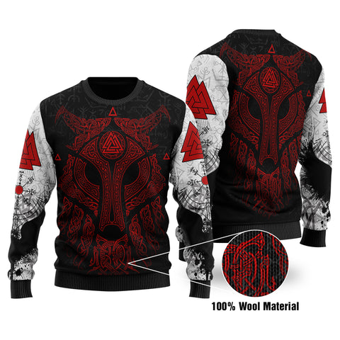 Viking Wolf and Raven 100% Wool Material Sweater Valknut Runes Red | 1stIceland