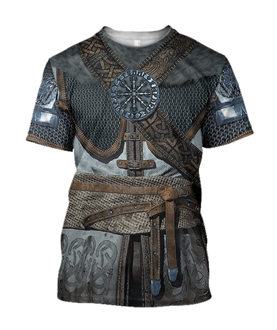 1stIceland Vikings T-Shirt, 3D Vikings Armor with Helm Of Awe Th00 - 1st Iceland